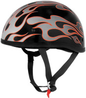 Skid Lid Original Red Flames Black and Silver Half Helmet