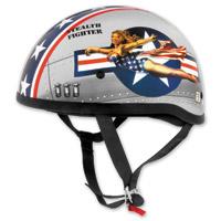Skid Lid Original Bomber Pinup Silver Half Helmet