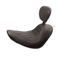 Mustang Black Wide Tripper Solo Seat with Diamond Stitching and Backrest