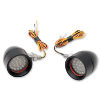 Custom Dynamics Black Anodized Mini Bullet LED Turn Signals with Amber LEDs