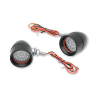 Custom Dynamics Black Anodized Mini Bullet LED Turn Signals with Red LEDs