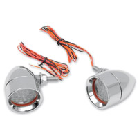 Custom Dynamics Chrome Mini Bullet LED Turn Signals with Red LEDs