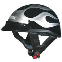 AFX FX-70 Flame Black and Silver Half Helmet