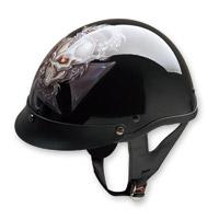 HCI-100 Designer Dragon Cross Black Half Helmet