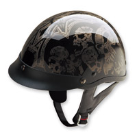 HCI-100 Designer Screaming Skulls Silver Half Helmet