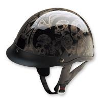 HCI-100 Designer Screaming Skulls Silver Half Helmet