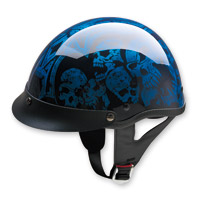 HCI-100 Designer Screaming Skulls Blue Half Helmet