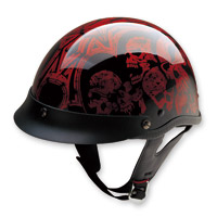 HCI-100 Designer Screaming Skulls Wine Half Helmet