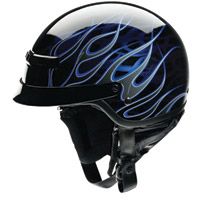 Z1R Nomad Hellfire Black and Blue Half Helmet