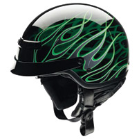 Z1R Nomad Hellfire Black and Green Half Helmet