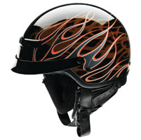 Z1R Nomad Hellfire Black and Orange Half Helmet