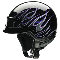 Z1R Nomad Hellfire Black and Purple Half Helmet