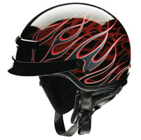 Z1R Nomad Hellfire Black and Red Half Helmet