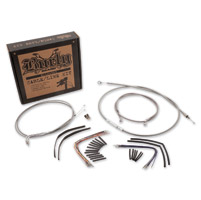 Burly Brand Braided Stainless 18″ Ape Hanger Cable/Brake/Wiring Kit