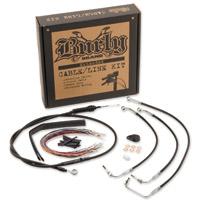 Burly Brand Black 15″ Ape Hanger Cable/Brake/Wiring Kit