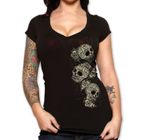 Lucky-13 Tres Skulls Women's Black V-neck T-shirt