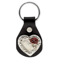 Eagle Leather  Rose and Heart Concho Key Fob