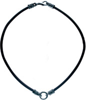 Bico Black Leather 22″ Choker Necklace