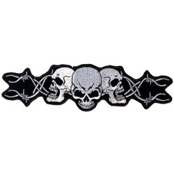 Hot Leathers Barbed Wire Skulls Embroidered Patch