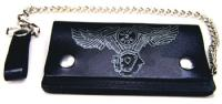 Embossed Engine Wings Leather Bi-Fold Wallet with Chain
