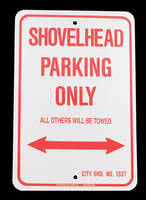 Shovelhead Novelty Parking Sign