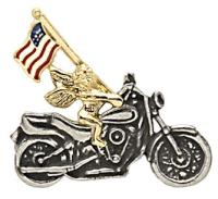 Motorcycle Angel with US Flag Pin