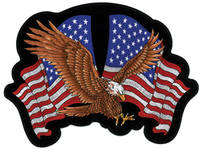 Soaring Eagle & Flag  Embroidered Patch