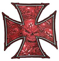 Lethal Threat Red Skulls Cross Embroidered Patch