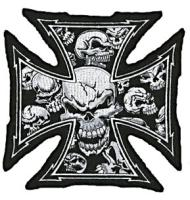 Lethal Threat Gray Skull Cross Embroidered Patch
