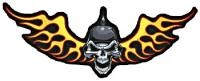 Lethal Threat Biker Skull Flame Out Embroidered Patch