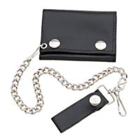 Hot Leathers Black Tri-Fold Leather Wallet