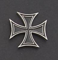 Skinny Iron Cross Hand Carved Pewter Pin
