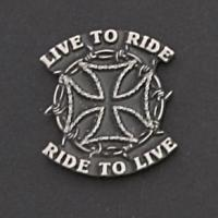 Hot Leathers Live to Ride Hand Carved Pewter Pin