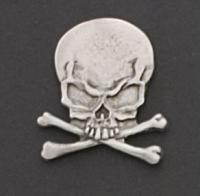 Skull and Crossbones Hand Carved Pewter Pin