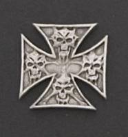 Maltese Cross with Skulls Hand Carved Pewter Pin