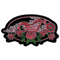 Fire Bike And Roses Embroidered Patch