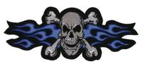 Lethal Threat Blue Flame Skull Embroidered Patch