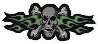 Lethal Threat Green Flame Skull Embroidered Patch