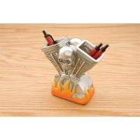 JBN Custom V-Twin Skull and Flames Pencil Holder