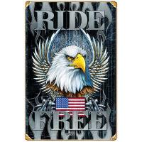 Ride Free Eagle Heavy Metal Vintage Sign