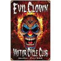 Evil Clown Motor Cycle Club Metal Sign