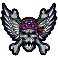 Lethal Threat Winged Rebel Skull Embroidered Patch