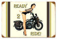 Ready 2 Ride Vintage Style Metal Sign