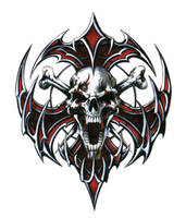 Lethal Threat Skull Blade Decal