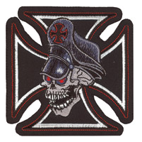 Lethal Threat Iron Cross Skull Mini Patch