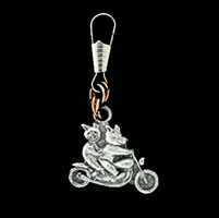 Pigs on Bike Zipper Pull