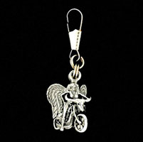 Angel on Biker Zipper Pull