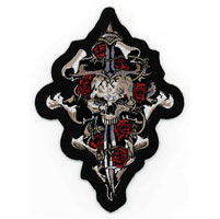 Lethal Threat Skull Dagger & Rose Embroidered Patch