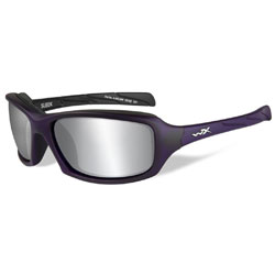 Wiley X Sleek Matte Violet Sunglasses with Silver Flash Lens