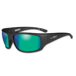 Wiley X Omega Matte Black Sunglasses with Polarized Emerald Mirror Lens